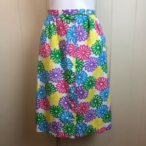 Vtg 70s/80s High Waisted Floral A Line Skirt